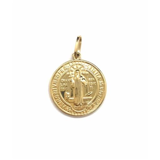 Pingente de Ouro 18K Medalha São Bento