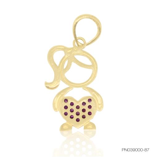 Pingente de Ouro 18k Menina com Coração Cravejado
