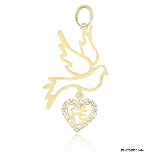 Pingente De Ouro 18k Pomba Da Paz Com Coração Fé