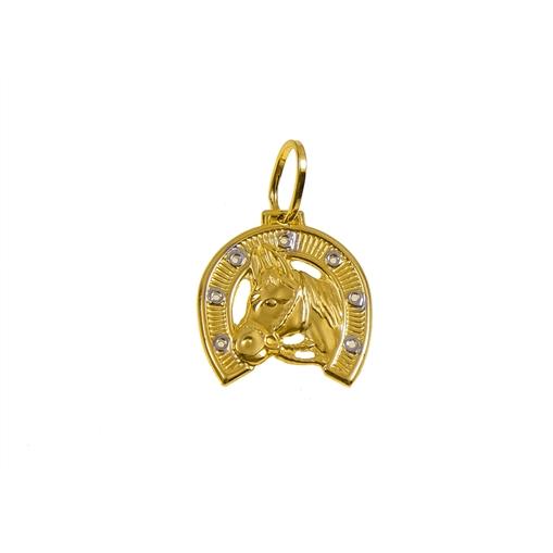 Pingente Ferradura com Cavalo Ouro 18k