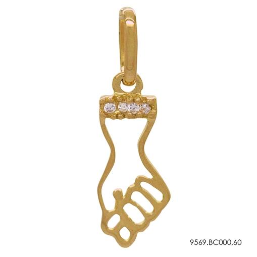 Pingente Figa Vazado Cravejado Ouro 18K