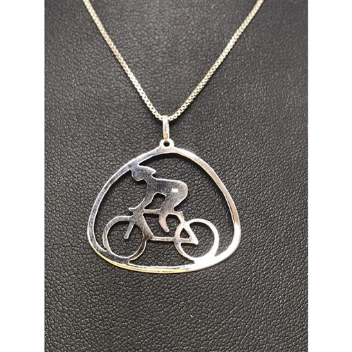 Pingente Menina Bicicleta Ouro Branco 18k