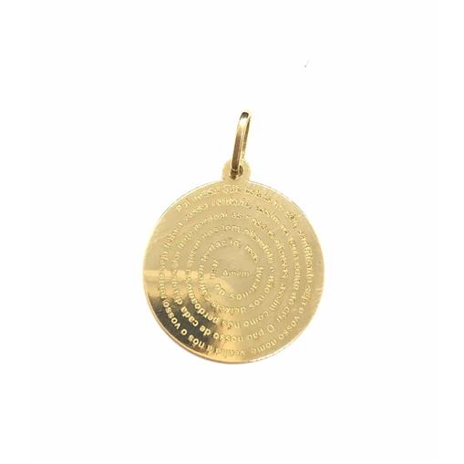 Pingente Ouro18K Medalha Pai Nosso