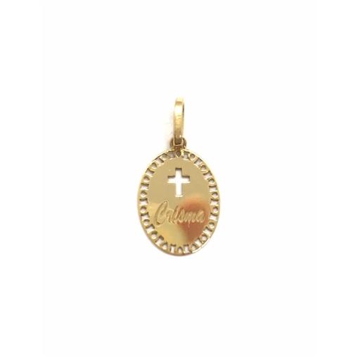 Pingente Ouro 18K Medalha Batismo/Crisma