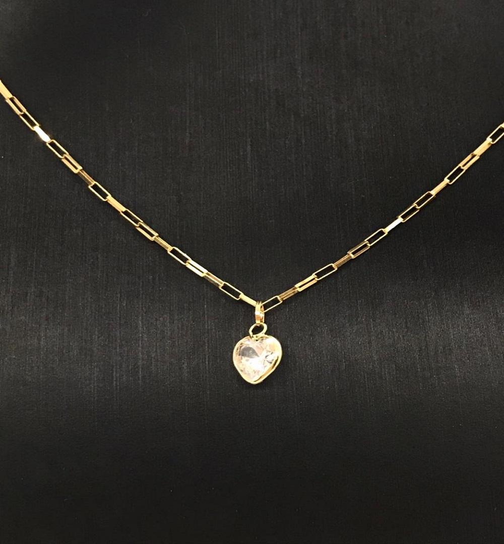 Pingente Ouro 18k Coração Pedra