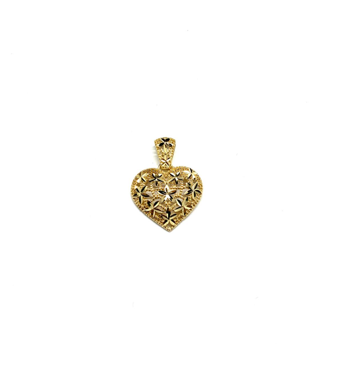 Pingente Ouro 18k Coração Trabalhado Vazado