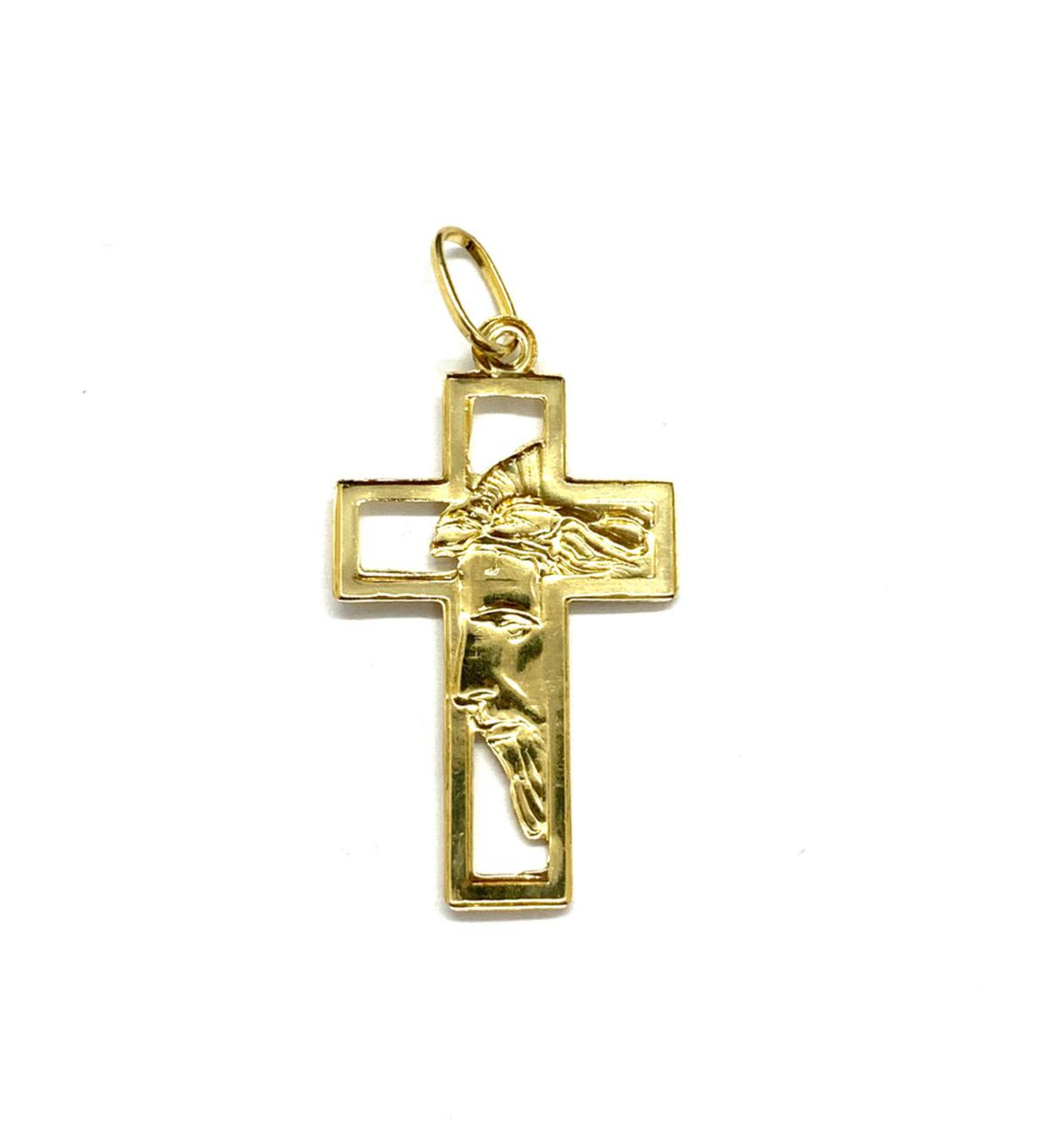 Pingente Ouro 18k Cruz Vazada com Face de Cristo