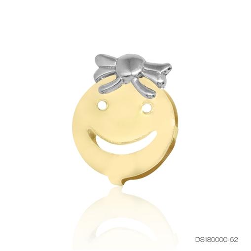 Pingente Ouro 18k Face de Menina com Ouro Branco