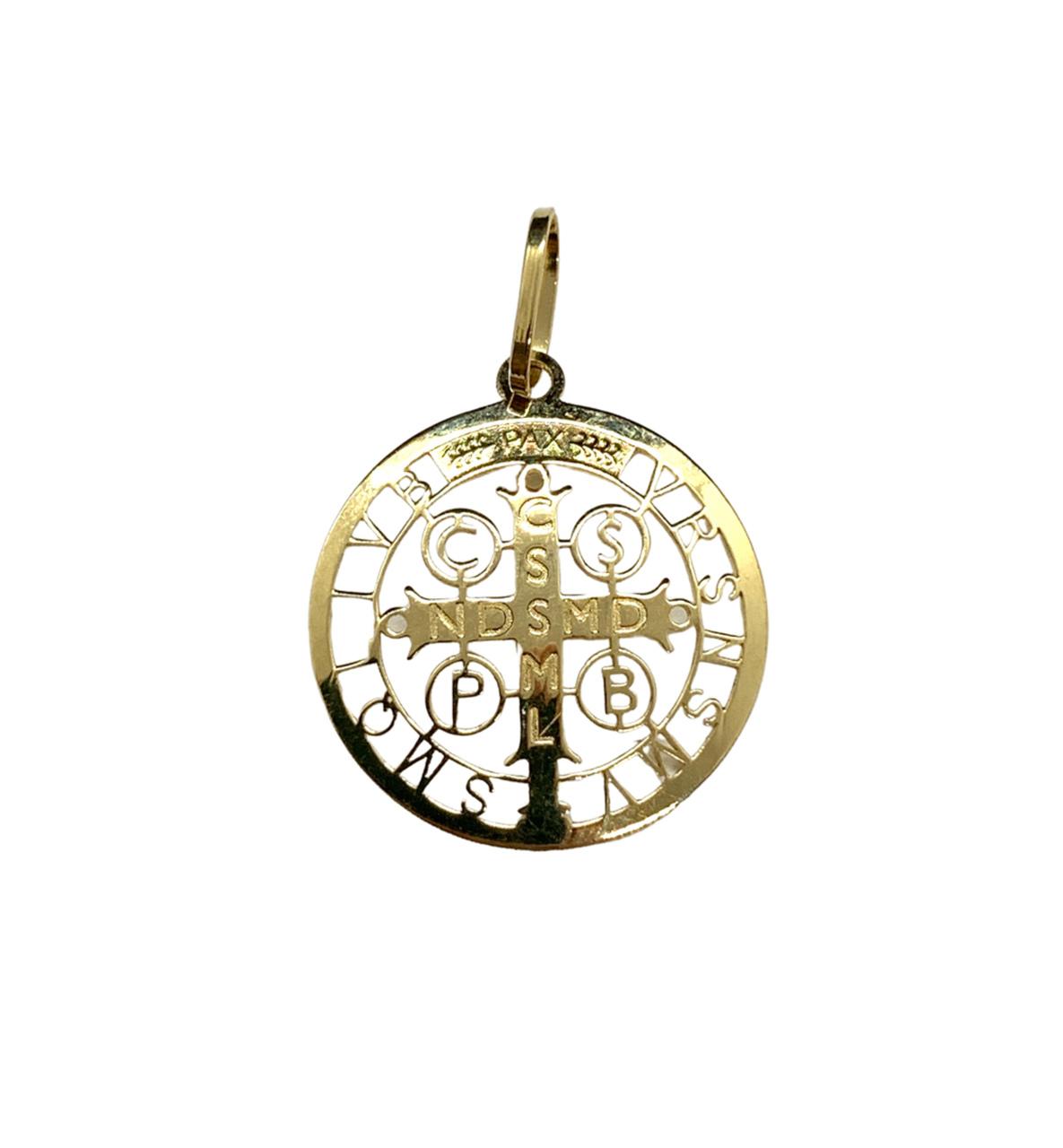Pingente Ouro 18k Medalha São Bento