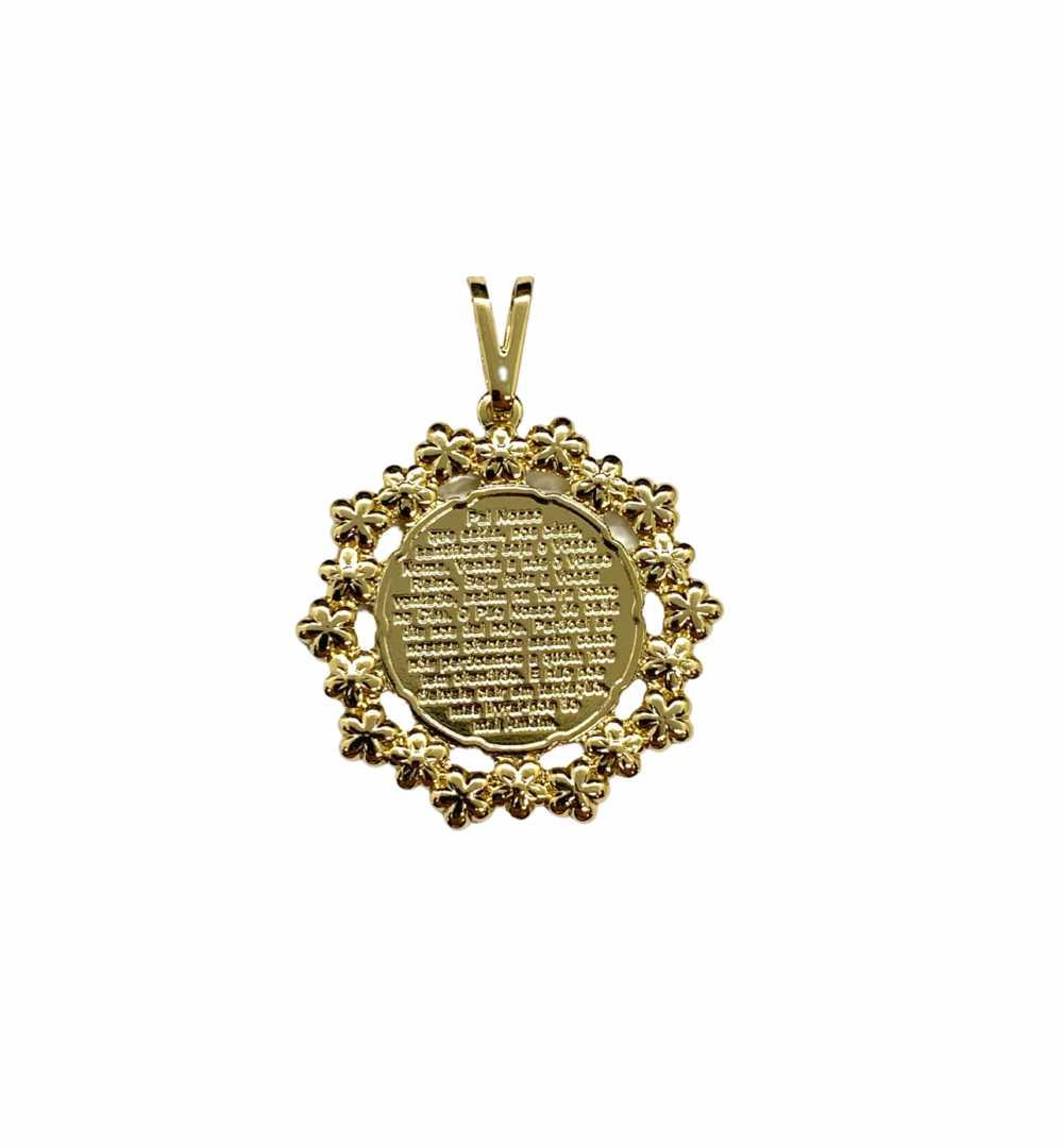 Pingente Semijoia Medalha Pai Nosso Jjoias Premium