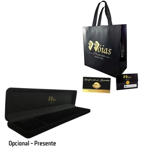Pulseira Ouro 18k com Elo Oval e Pedra Jjoias Premium