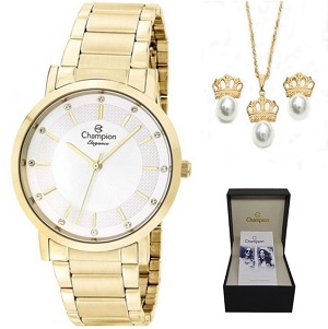 Relógio Feminino Champion Dourado CN25627W
