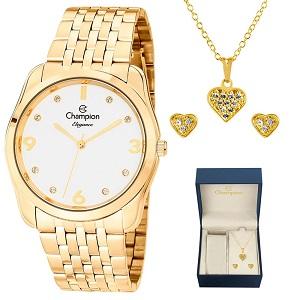 Relógio Feminino Champion Dourado Kit Colar e Brinco CN25341W