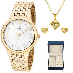 Relógio Feminino Champion Kit Colar e Brinco Dourado CN28133W