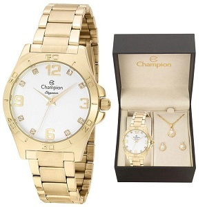 Relógio Feminino Champion Kit Colar e Brinco Dourado CN28446W