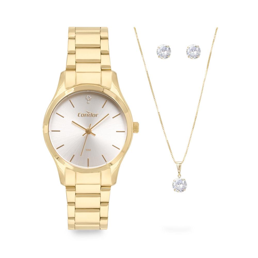 Relógio Feminino Condor Dourado Kit Colar e Brinco COPC21AEAD/K4B