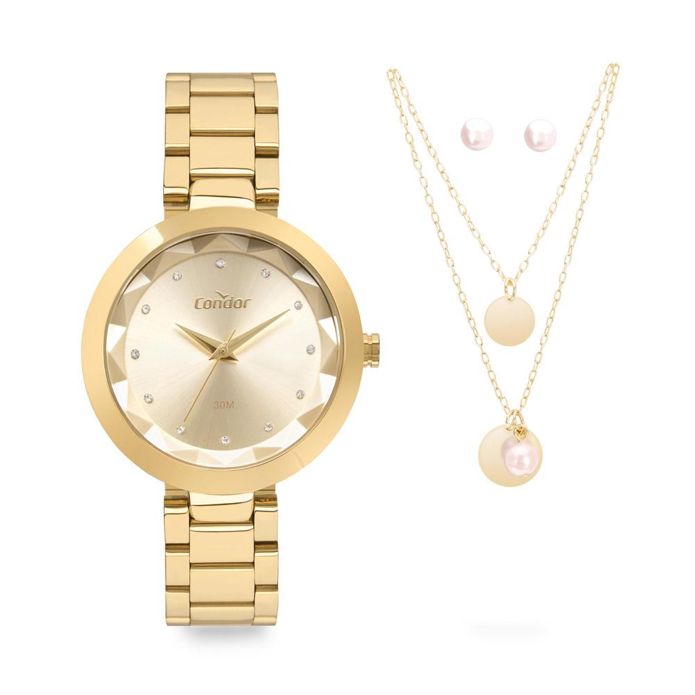 Relógio Feminino Condor Dourado Kit Colar e Brinco COPC21AEAP/K4X