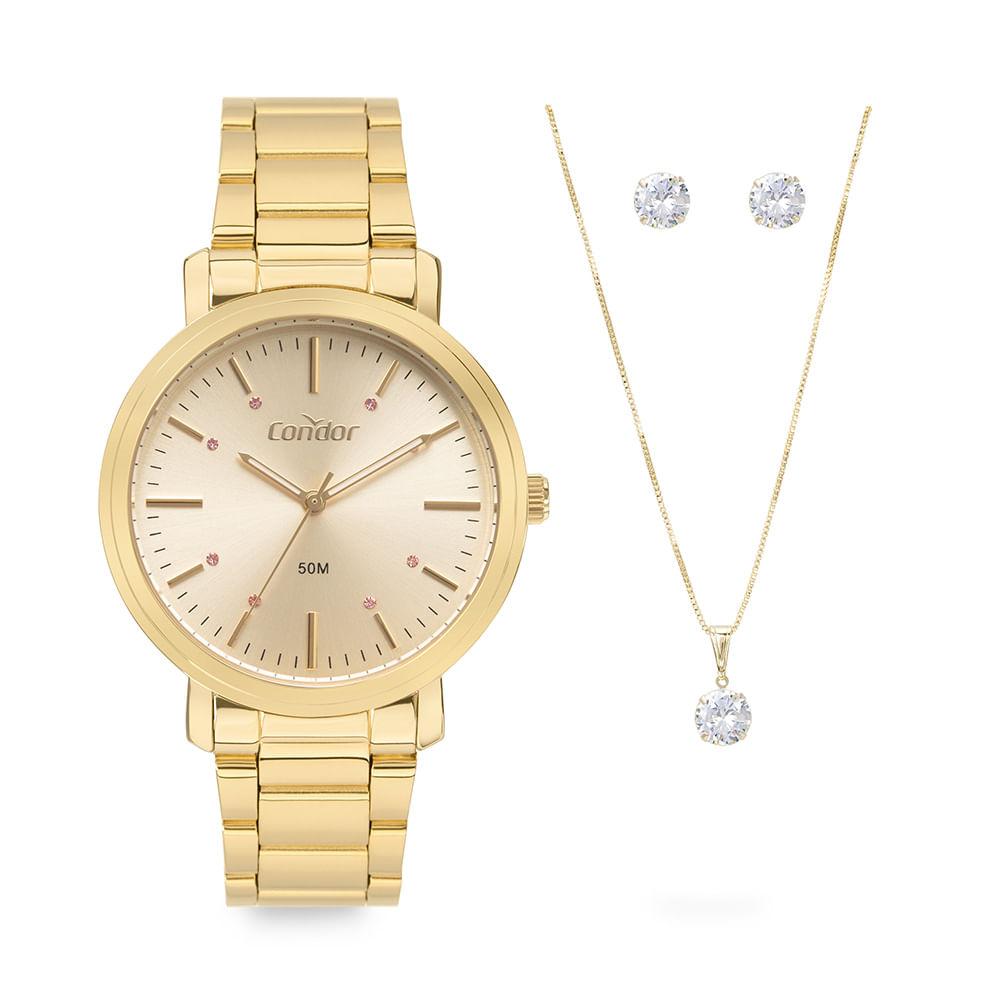 Relógio Feminino Condor Dourado Kit Colar e Brinco COPC21AEAW/K4X