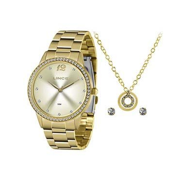 Relógio Feminino Lince Kit Colar e Brinco Dourado LRGJ119LKY79