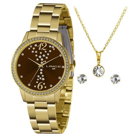 Relógio Feminino Lince Kit Colar e Brinco Dourado LRGJ133jKZ34