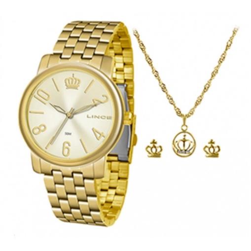 Relógio Feminino Lince Kit Colar e Brinco LRG4555LKV02