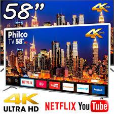 """Smart TV LED 58"""" UHD 4K Philco PTV58F80SNS com Netflix, Dolby Audio, Wi-fi, HDR, Processador Quad-Core, Entradas HDMI e USB"""