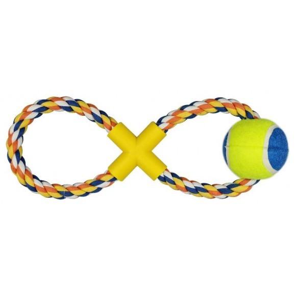 Brinquedo Pet Mordedor Corda com Bola de Tênis