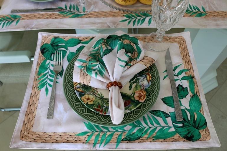 Kit de Guardanapos com Jogos Americanos Floral/Mármore