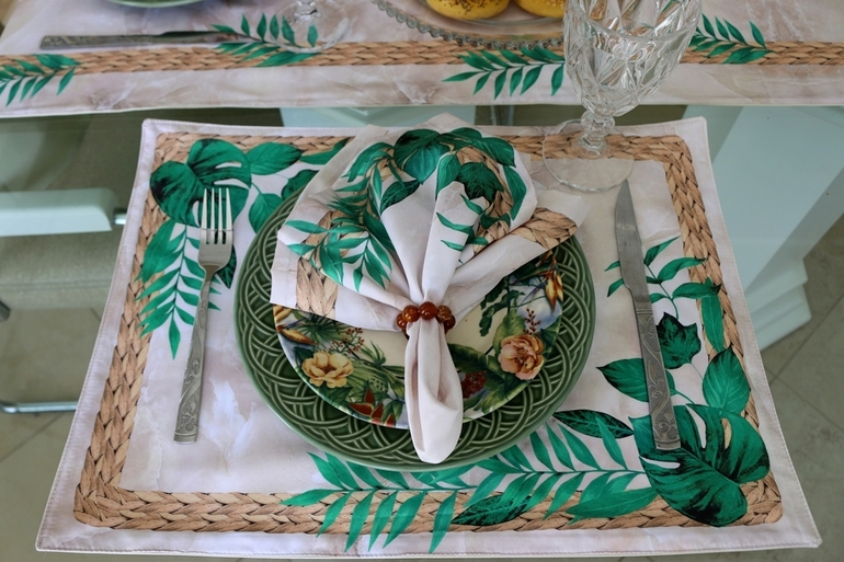 Kit de Jogos Americanos Floral/Mármore