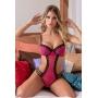 Body em Tule com Bojo, Recortes Laterais e Detalhes em Guippir - Y7024 - Pink