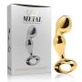 Massageador de Próstata em Metal com Formato de Glande 8,3x3,5cm - Dourado