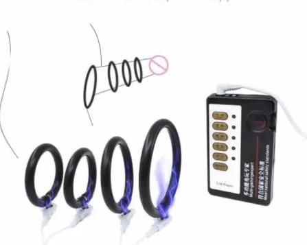 Kit com 3 Anéis Peninos + Controle Remoto com Fio e Eletrochoques