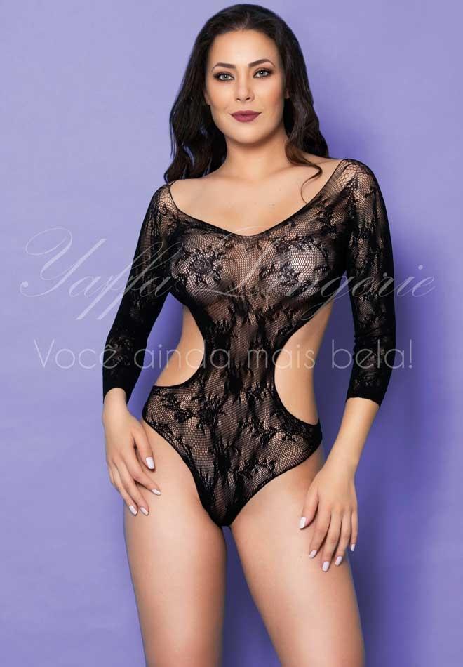 Body com Mangas Compridas e Tule com Detalhes em Flores - Y2543
