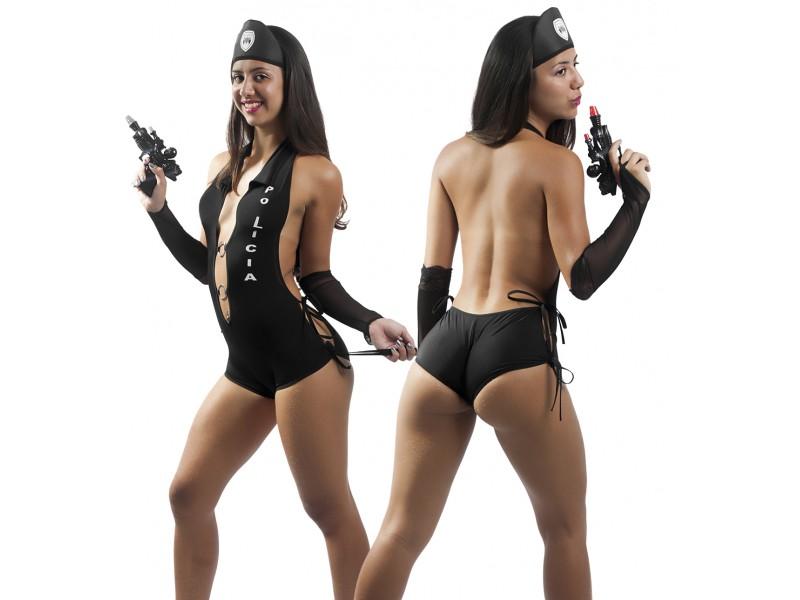 Fantasia Policial - Body, Par de Luvas e Kep