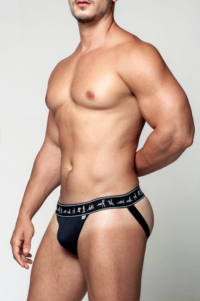Jock Strap com Estampa Kamasutra Gay - Preto