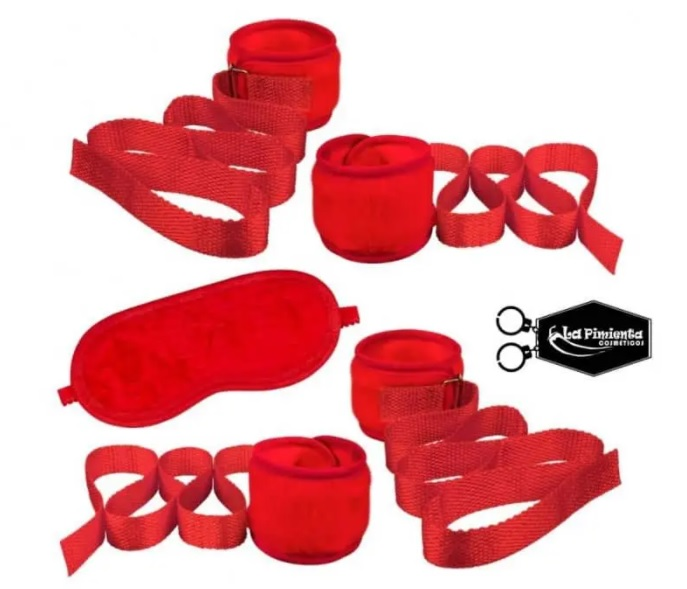 Kit Bondage L504 Pelucia Vermelha La Pimienta