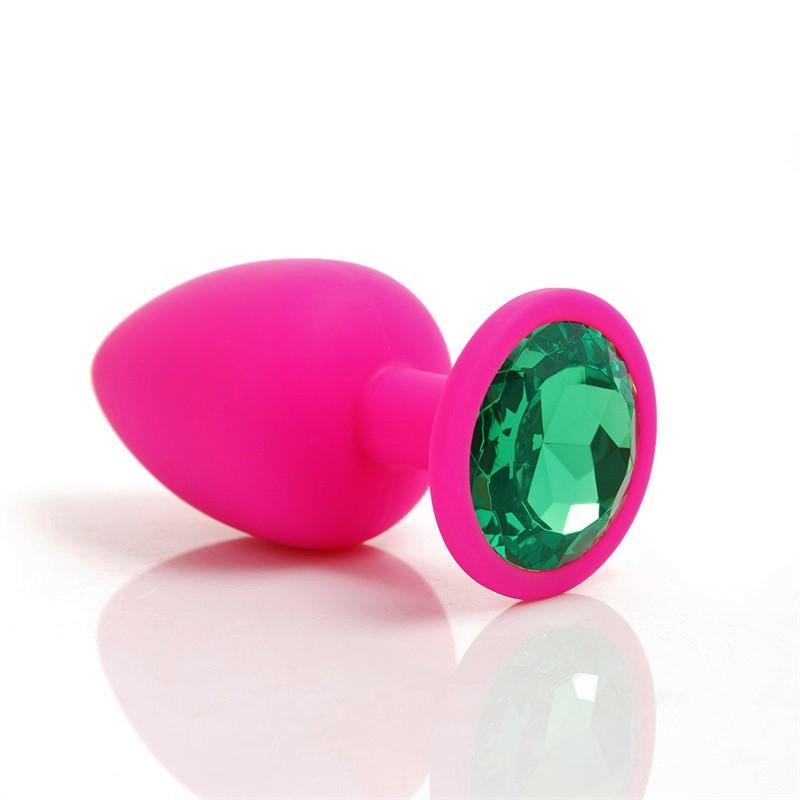 Plug Anal em Silicone - Tamanho P - Pink com Esmeralda 7,2x2,8cm