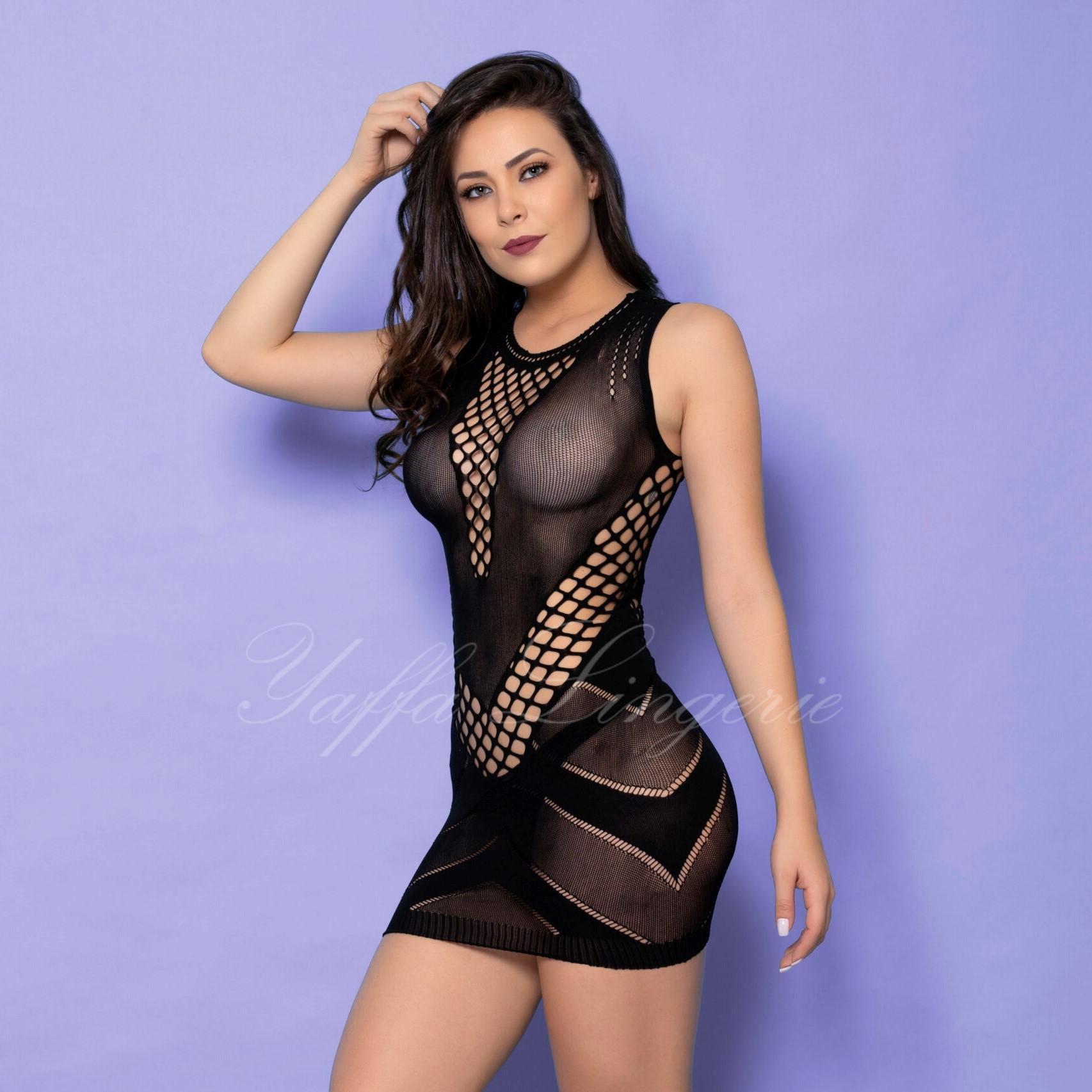 Mini Vestido com Aberturas e Transparência - Y1018