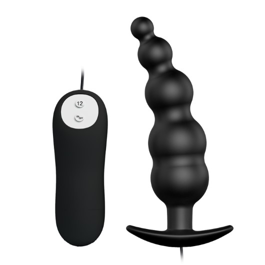 Plug Anal em Silicone Escalonado com 12 Modos de Vibração + Controle Remoto com Fio 11,8x3cm