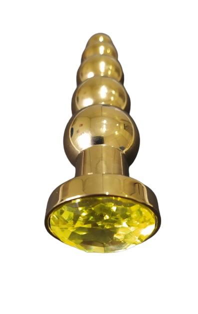 Plug Anal em Metal Escalonado com Joia na Base 13x3cm - Dourado com Amarelo