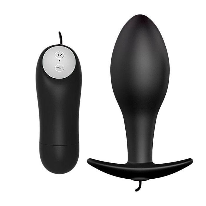 Plug Anal em Silicone Macio e 12 Modos de Vibração + Controle Remoto com Fio 8,5x3cm