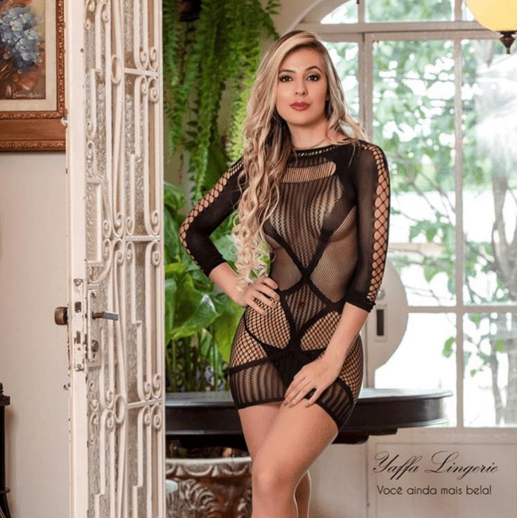 Vestido com Mangas Longas e Transparência - Y6132