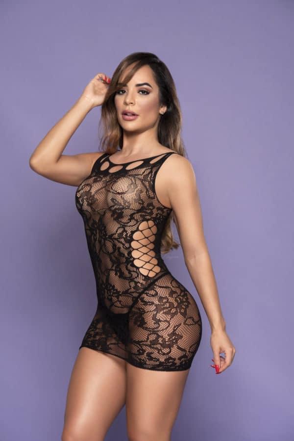 Mini Vestido sem Mangas e com Aberturas Laterais - Y6225