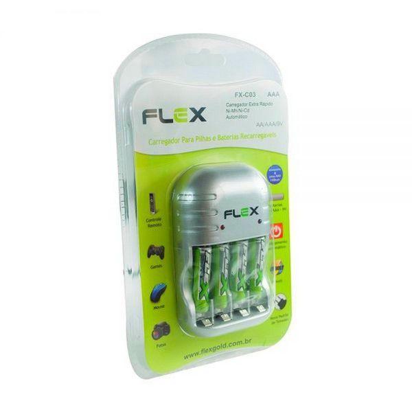 CARREGADOR COM 4 PILHAS RECARREGÁVEIS FX-C03 AA FLEX