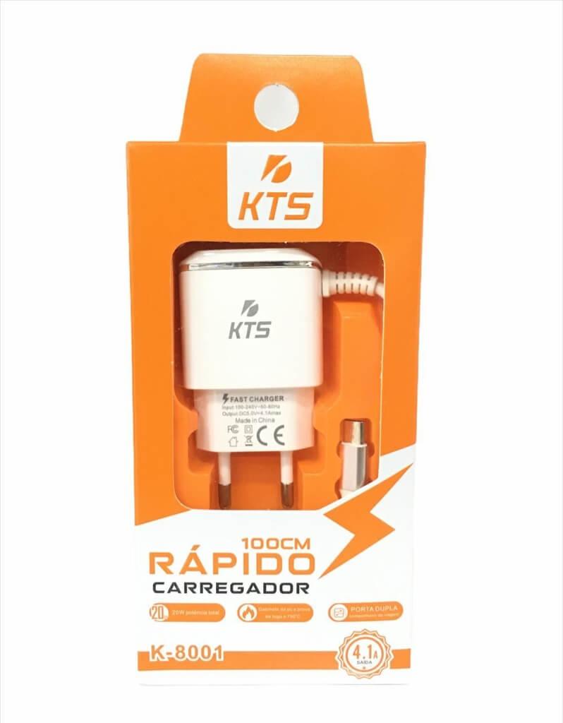 CARREGADOR RÁPIDO SMARTPHONE V8 4.1 K-8001 KTS
