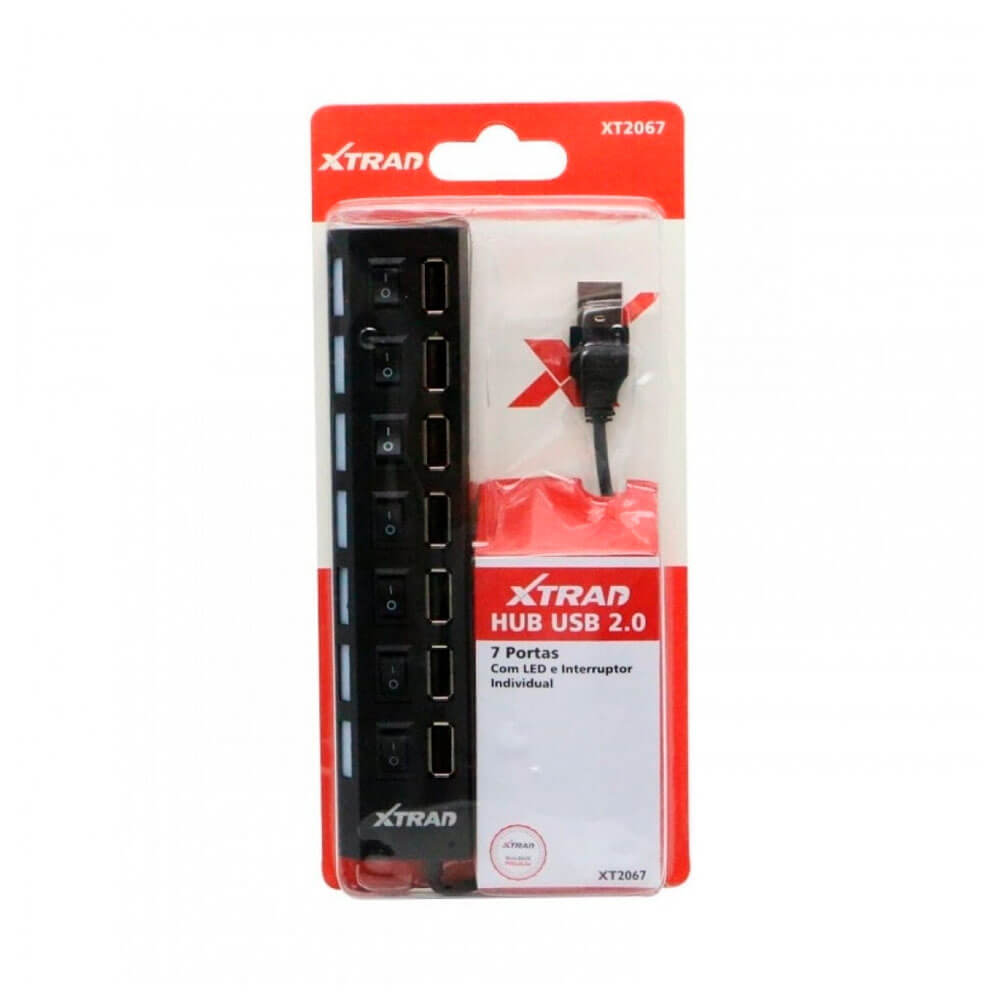 Hub USB 7 Portas com Led e XT2067 Xtrad