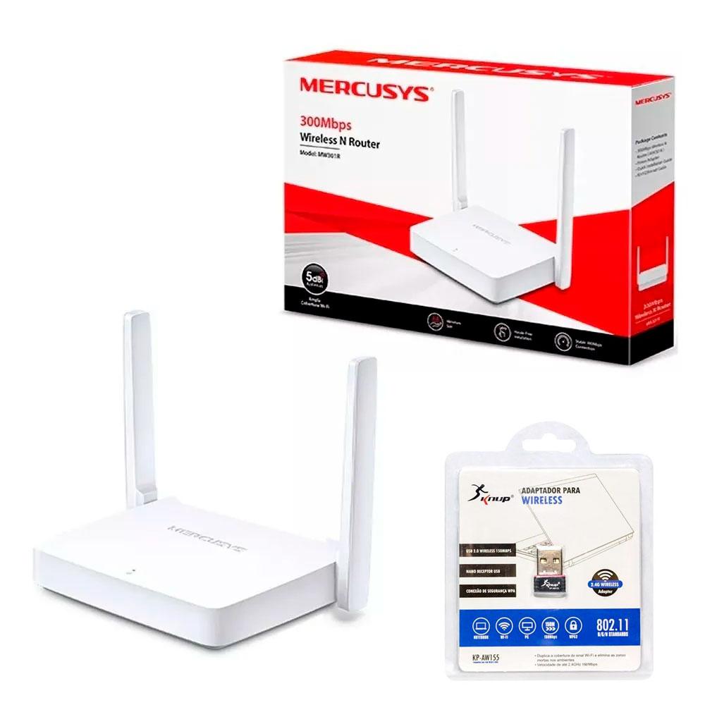 Kit Roteador Mercusys e Adaptador Wireless