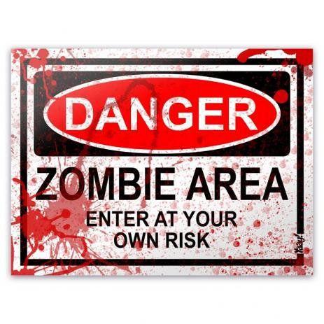 Placa - Danger Zombie Area - BLOOD EDITION - 20 x 15 cm