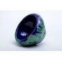 Cachepot com Folhas e Fundo Azul Cobalto em Cerâmica