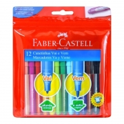 Canetinhas Faber-Castell Ponta Vai e Vem 12 Cores Hidrocor